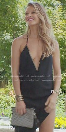 Phoebe's black asymmetrical deep v-neck dress on Girlfriends Guide to Divorce.  Outfit Details: https://wornontv.net/55453/ #GG2D