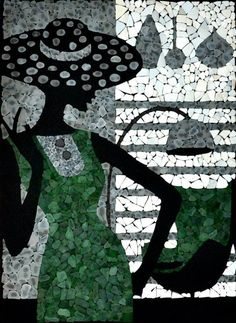 Seaglass art in glass art  with Reused Recycled Portrait mosaic Glass Art