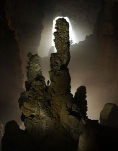 """Hand of Dog stalagmite in Hang Son Doong Cave,The """"Mountain River Cave"""", in a remote part of Vietnam's Annamite Mountains"""