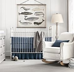 nautical-themed nursery. combine bedding in multiple colors and textures to add depth to your décor. #rhbabyandchild