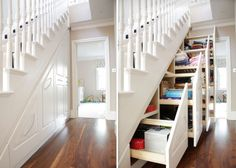 beyond under stairs storage design ideas wine rack cupboards nook, stairs, storage ideas, Perfect built in under stair storage with sliding drawers Great to hide small and big items Staircase Storage, Stair Storage, Staircase Design, Hidden Storage, Extra Storage, Stair Drawers, Storage Drawers, Stair Design, Sliding Drawers