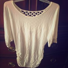 EUC white top with rhinestones EUC white top with embellished sleeves and beautiful weaved back. Side ruching. Great dressed up or down. Ignore the wrinkles---will iron before I ship Daytrip Tops Blouses