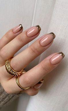 Gold Tip Nails, French Tip Nails, Nude Nails, Gel Nails, Coffin Nails, Ballet Nails, Matte Nail Colors, Cute Spring Nails, Plaid Nails