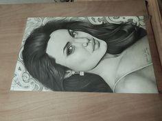 Pencil Drawing of Angelina Jolie by Gabriel Serna