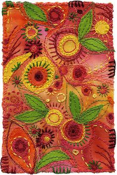 Fiesta by Kirsten Chursinoff felt and embroidery textile art panel , design good for various craft makes like book covers , wall art etc. Embroidery Applique, Beaded Embroidery, Embroidery Stitches, Embroidery Patterns, Machine Embroidery, Fabric Postcards, Art Textile, Textiles, Wool Applique