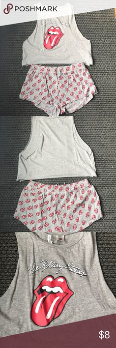 Rolling stones Pj set Rolling Stones pajama set from H&M - shorts have been worn once and shirt has been worn twice! (Shirt looks great with denim shorts too) H&M Intimates & Sleepwear Pajamas
