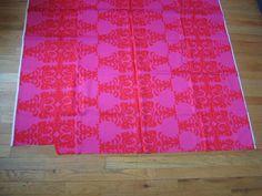 Marimekko style pattern, red on pink, early 1960's