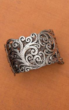 Large Burnished Silver Filigree Cuff