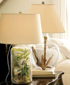 Fillable Bottle Lampshades for Home Decor. Lovely idea to add fresh herbs and drift wood. Find more DIY lamp inspiration, tutorials and supplies at www. Cool Lamps, Unique Lamps, Fillable Lamp, Glass Lamp Base, Glass Lamps, Lamp Inspiration, Lamp Bases, Cottage Style, Pottery Barn
