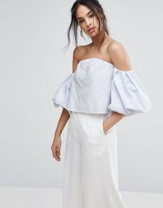 Missguided Bardot Puff Sleeve Blouse