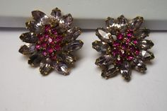 VINTAGE WEISS RUBY RED AND PURPLE  GIVRE GLASS CLIP EARRINGS #WEISS