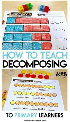 How to teach primary learners how to decompose numbers using hands-on activities Numbers Kindergarten, Kindergarten Math Activities, Math Numbers, Preschool Math, Fun Math, Teaching Math, Decomposing Numbers, Math Games, Primary Teaching