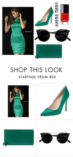 """Cap Sleeve Satin Sherri Hill 32295 Emerald Short Dress"" by susannelsone on Polyvore featuring SJP, Gucci and Chanel"