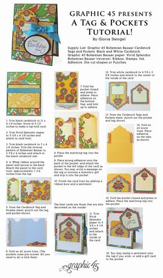 Terrific Ideas with Tags and Pockets! Click the picture to get to the downloadable Bohemian Bazaar tutorial by Gloria Stengel! #graphic45