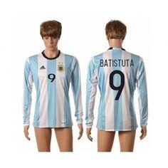 Argentina 2016 Batistuta 9 Hjemmebanetrøje Lange ærmer