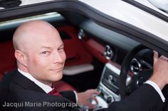 """Groom in """"his"""" Mercedes SLS wedding car. Wedding photography by Hampshire wedding photographers Jacqui Marie Photography. VISIT http://Jacqui-Marie-photography.co.uk for details"""
