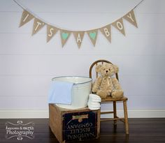 It's A Boy Burlap Banner / Baby Shower Decoration / Maternity Photography Prop. $28.00, via Etsy.