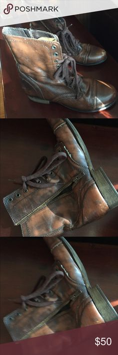 Steve Madden troppa combat boots Great condition.  These don't fit me  :( bundle with other items in my closet to get the best deal!!! Shoes Combat & Moto Boots