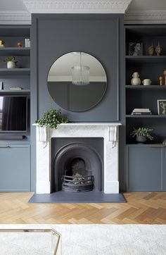 47 Best Blue Living Room Decoration Ideas That You Need To See - A blue living room may bring relaxation to the owner because the nature of the color used itself has relaxing and comforting features. Dark Living Rooms, Living Room With Fireplace, Home Living Room, Living Spaces, Modern Living, Victorian House Interiors, Victorian Living Room, 1930s Living Room, Victorian Fireplace