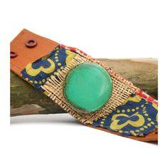 Vintage TURQUOISE farm cuff on distressed leather with batik fabric and burlap / unique bracelet