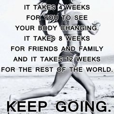 It takes 4 weeks for you to see your body changing, it takes 8 weeks for friends and family, and it takes 12 weeks for the rest of the world. Keep going!