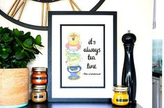 This art print features a quote from Lewis Carrols Alice in Wonderland. The print gives a nod to Alice and the Mad Hatter, tea drinkers everywhere and the characters of Wonderland. The poster has a hand drawn illustration of a stack of teacups and hand written text. An ideal gift for an Alice in Wonderland fan or someone who is addicted to tea. The print is available as either an A4 or A3 print. Ideal to adorn any room in your home or office - a lovely example of Literature inspired home…