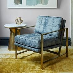 Luster Velvet on sale for $350! Metal Frame Upholstered Chair #westelm