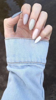 Cute Nail Polish, Cute Acrylic Nails, Nail Polish Colors, Green Nails, Purple Nails, White Nails, Polygel Nails, Nail Manicure, Hair And Nails