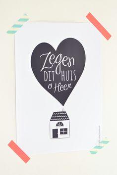 Zegen dit huis o Heer. Poster: HEEGoodies.com. Tip: Leuk om met washi tape op te hangen!