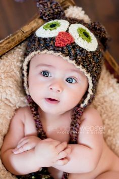 Brown Owl Hat - Baby Owl Hat - Cute and Soft Earflap Baby Hat -  6 - 12 months  -by JoJosBootique. $29.00, via Etsy.