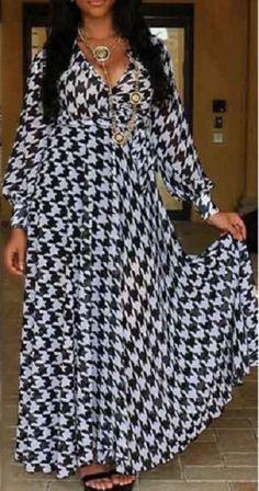 Bird Print Women's Long Dress Cute Chiffon Long Dress Ankle Length Long Sleeves Black and White Size Xl