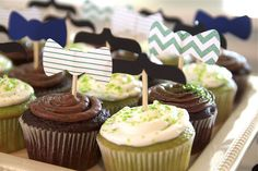 How tie cupcake toppers. @Manda Leach these could be cute for the cheesecake slices!