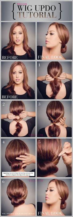 This wig updo is super easy to create! Check out the full tutorial here: http://www.wigs.com/blog/how-to-tutorials/wig-updo-tutorial/