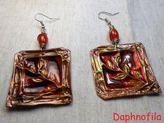 Copper laurel leaves Copper earrings Handmade earrings