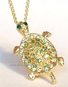 Gold Crystal Sea Turtle Pin Brooch Necklace Green Crystals USA Seller #Unbranded