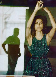 Gorgeous Elisa Sednaoui in a #green Roberto Cavalli dress on @Vogue Italia! #fashion #editorial