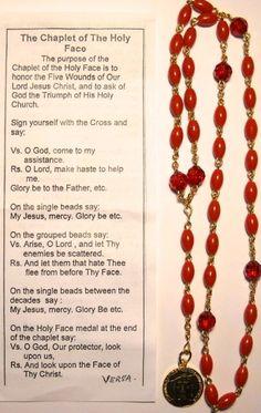 The Chaplet of the Holy Face Catholic Prayers Daily, Prayers To Mary, Novena Prayers, Prayers For Healing, Catholic Quotes, Rosary Prayer, Holy Rosary, Faith Prayer, Prayer Book