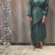 Pinterest: @eighthhorcruxx. Green Abaya, white heels