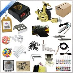 69.90$  Watch more here  - 1 Sets Professional Tattoo Kits LCD Power High quality Tattoo machines with Grips Needles Tattoo Supply + Ink sets free shipping