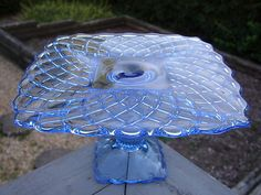"SMALL 8"" Square L.E.SMITH Pattern Glass TRELLIS Pedestal CAKE STAND Plate BLUE 