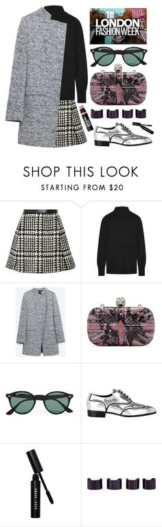 """London Fashion Week"" by karineminzonwilson ❤ liked on Polyvore featuring Jill Stuart, Equipment, Zara, Alexander McQueen, Ray-Ban, Giuseppe Zanotti, Bobbi Brown Cosmetics, Maison Margiela, Bare Escentuals and black"