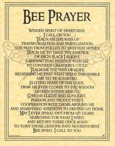 Book of Shadows BEE Totem Poem Prayer Page Poster BOS by Travis Bowman Wicca
