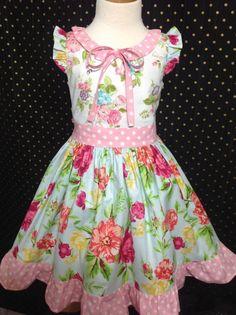 Easter Girl Dress Size 7; Denisse; Handmade;  All Seasons; 100% Cotton #Handmade #DressyEverydayPageantParty