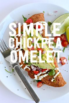 Breakfast just got EASY and tasty with this simple to make Chickpea Omelet for The best part? It's not really an omelet! Omelettes, Quiches, Vegan Foods, Vegan Vegetarian, Vegetarian Recipes, Healthy Recipes, Veggie Recipes, Whole Food Recipes, Cooking Recipes