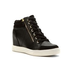 Aldo Ottani  Sneakers (1.894.385 VND) ❤ liked on Polyvore featuring shoes, sneakers, black, wedged sneakers, wedge sneaker shoes, black wedge sneakers, zip up shoes and aldo