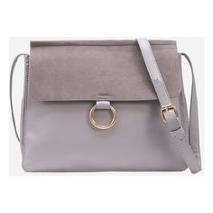 Grey Ring Accent Faux Suede Flap Bag ($32) ❤ liked on Polyvore featuring bags, handbags, grey, grey handbags, man bag, hand bags, grey purse and flap bag