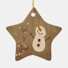 Snow Ornaments, Primitive Christmas Ornaments, Christmas Craft Fair, Snowman Christmas Ornaments, Diy Snowman, Primitive Snowmen, Star Ornament, Rustic Christmas, Christmas Stuff