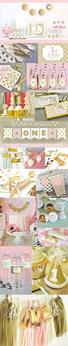 1st Birthday Girl Party Ideas Pink and Gold Party Decorations for a 1st Birthday Girl by ModParty