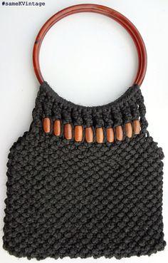 Vintage Macrame Clutch or Handbag Handwoven Black with Wooden Beads. $17.00, via Etsy.