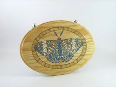 Butterfly Wall Art  Wood Pyrography  Red Cracker by bkinspired